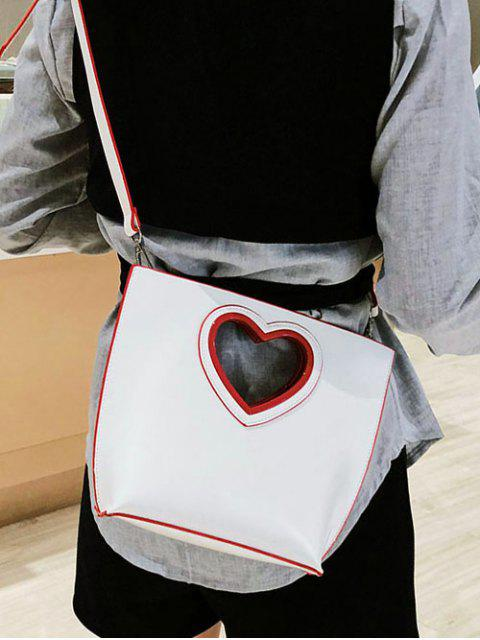 outfits Heart Cut Handle Tote Bag - WHITE  Mobile