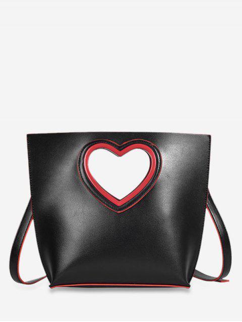 shop Heart Cut Handle Tote Bag - BLACK  Mobile