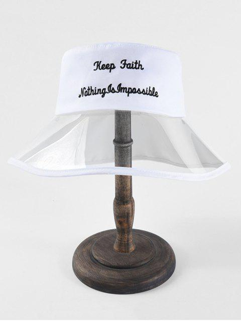 affordable Transparent Letter Embroidery Bucket Hat - WHITE  Mobile
