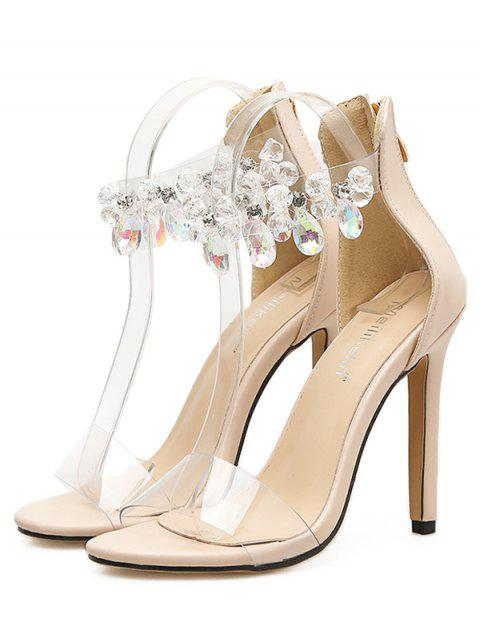 new Teardrop Faux Crystal Clear Heeled Sandals - APRICOT EU 40 Mobile