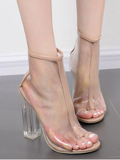 unique Peep Toe Clear Chunky Heel Sandals - APRICOT EU 36 Mobile