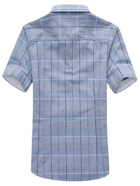 outfits Short Sleeves Plaid Print Slim Fit Shirt - BLUE GRAY L Mobile