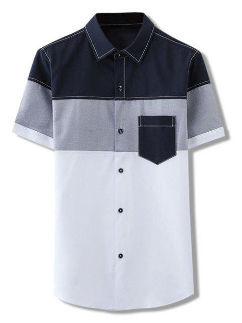 fashion Color Block Panel Slim Fit Shirt - WHITE M Mobile