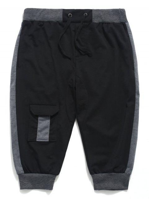 hot Color Block Panel Drawstring Jogger Shorts - BLACK L Mobile