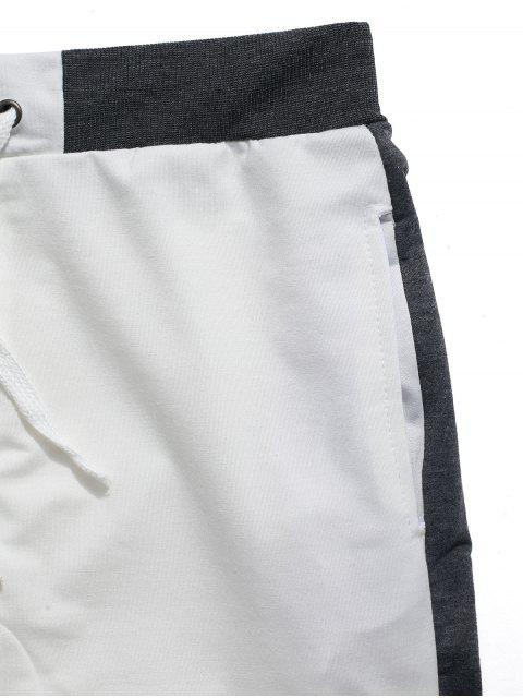 shops Color Block Panel Drawstring Jogger Shorts - WHITE L Mobile