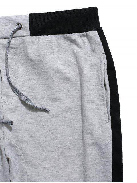 chic Color Block Panel Drawstring Jogger Shorts - GRAY CLOUD L Mobile