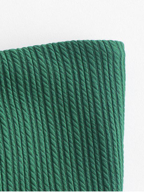 shops ZAFUL Lace Up Ribbed Bandeau Bikini Set - MEDIUM FOREST GREEN L Mobile
