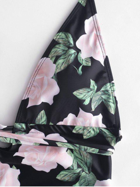 Слитный купальник с цветочным принтом ZAFUL - Чёрный S Mobile