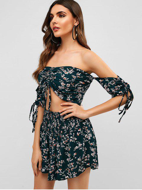 Conjunto floral cinchado con hombros descubiertos de Zaful - Mar Verde Mediana XL Mobile