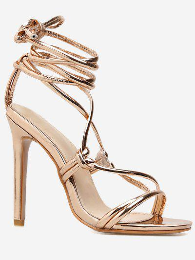 6e958b638 High Heel Gladiator Lace Up Sandals - Gold Eu 37
