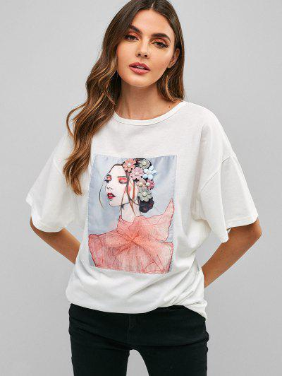 ZAFUL Girl Graphic Floral Pearls Embellished Tee