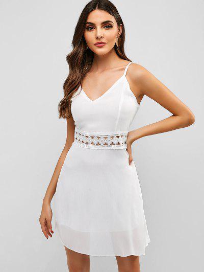 f28568b71 Voltar Zipper Crochet Panel Cami Dress - Branco S ...