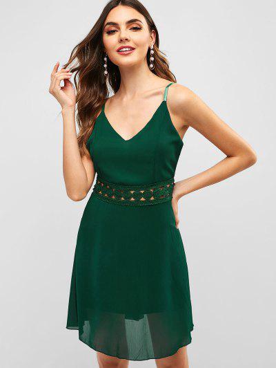 4947a7f1a8ef Back Zipper Crochet Panel Cami Dress - Green S ...
