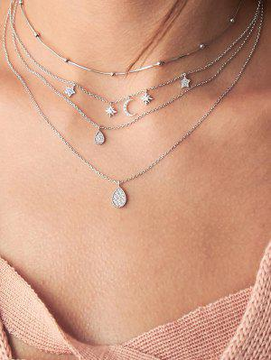 zaful Moon Star Water Drop Layers Necklace