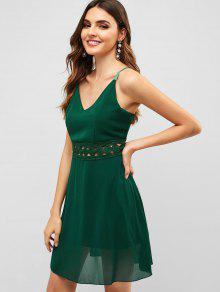 a4f54835d 29% OFF] [HOT] 2019 Back Zipper Crochet Panel Cami Dress In GREEN ...