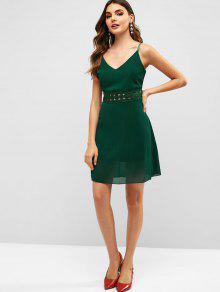 bcc9e1e58 28% OFF   HOT  2019 Back Zipper Crochet Panel Cami Dress In GREEN ...