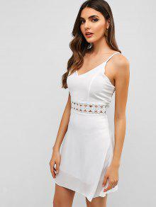 4093dd266 32% OFF   HOT  2019 Back Zipper Crochet Panel Cami Dress In WHITE ...