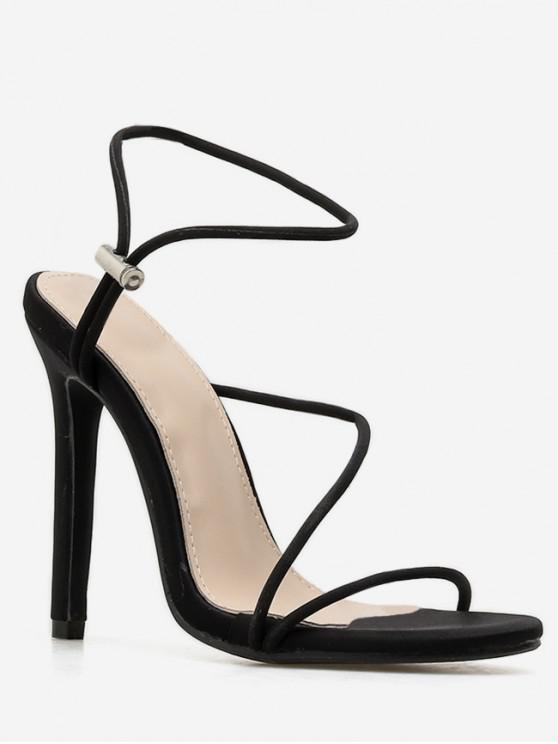 women Drawstring Strappy High Heel Sandals - BLACK EU 37