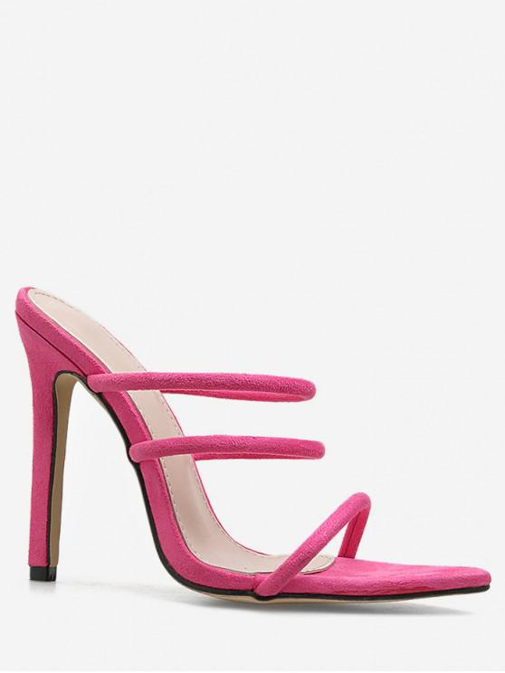 fancy Pointed Toe Strappy High Heel Slides - PINK EU 40