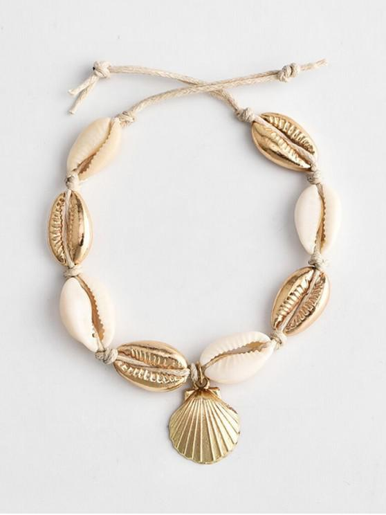 women's Beach Shell Rope Anklet - GOLD