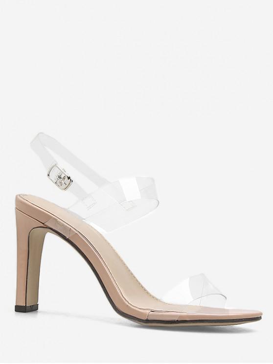 ladies Neon Ankle Strap Transparent PVC Sandals - APRICOT EU 38