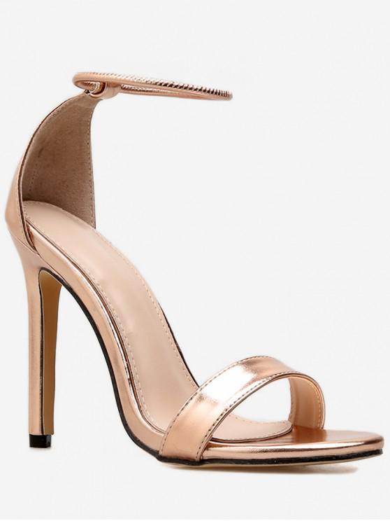 unique Ankle Strap Stiletto High Heel Sandals - GOLD EU 37