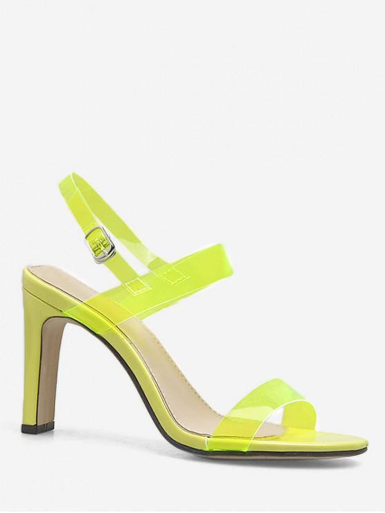 fashion Neon Ankle Strap Transparent PVC Sandals - GREEN EU 37