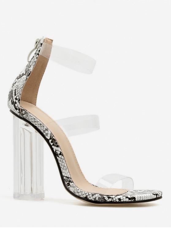 buy Snake Transparent PVC Chunky Heel Slides - BLACK EU 38