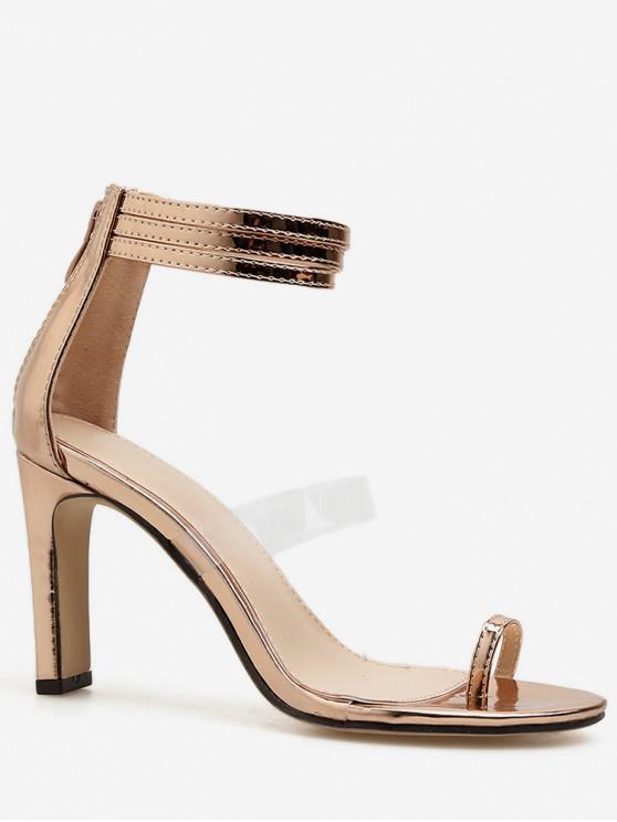 shop Toe Loop Back Zip Heeled Sandals - GOLD EU 38