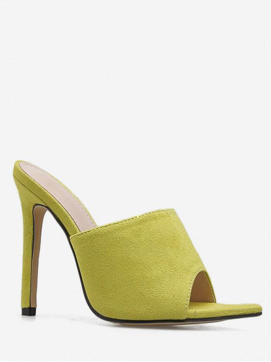 sale Pointed Toe Suede High Heel Slides - GREEN EU 40