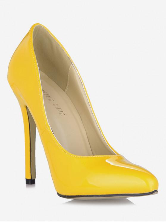 lady Pointed Toe Super High Heel Pumps - YELLOW EU 37