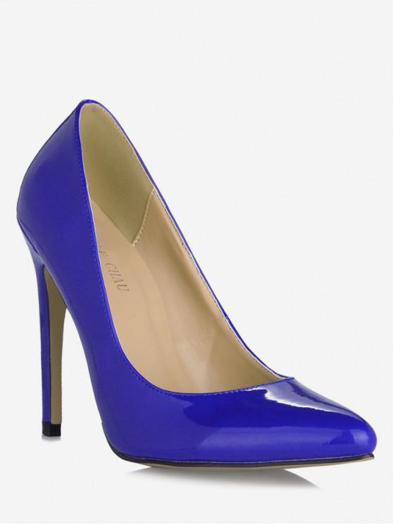 buy Pointed Toe Super High Heel Pumps - BLUE EU 37