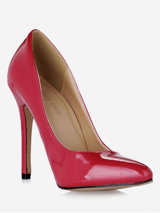 womens Pointed Toe Super High Heel Pumps - RED WINE EU 42