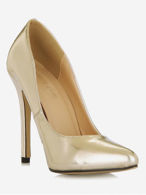 women Patent Leather High Heel Party Pumps - GOLD EU 37