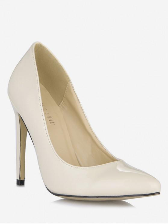 latest Pointed Toe Super High Heel Pumps - CRYSTAL CREAM EU 39