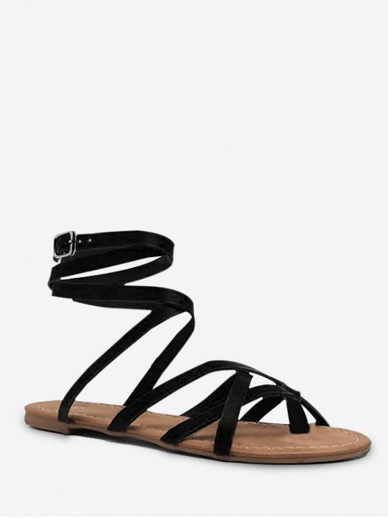 buy Toe Loop Lacing Gladiator Flat Sandals - BLACK EU 41