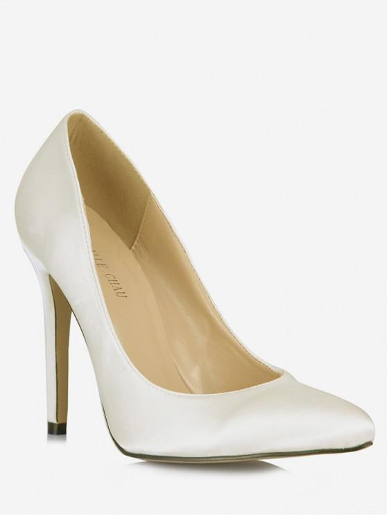 fancy Pointed Toe Stiletto High Heel Pumps - CRYSTAL CREAM EU 43