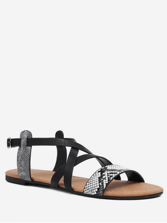 outfit Snake Detail Cross Strap Flat Sandals - WHITE EU 39