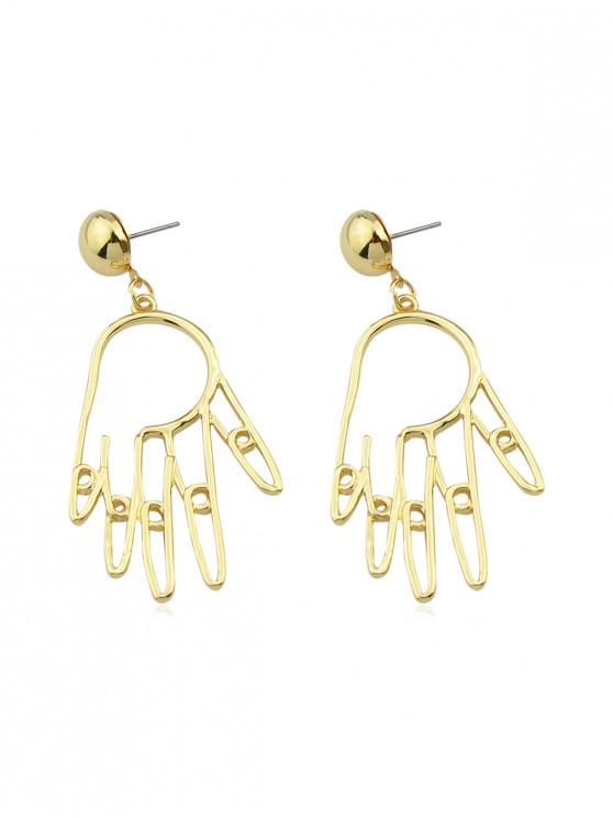 womens Hand Palm Shape Hollow Earrings - GOLD