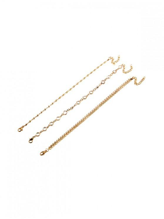 hot 3 Piece Arrow Sequins Chain Anklet Set - GOLD