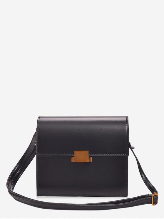 latest Vintage Flap PU Leather Crossbody Bag - BLACK