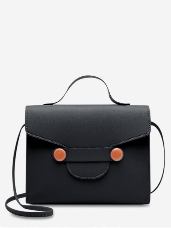 fancy PU Mini Crossbody Bag - BLACK