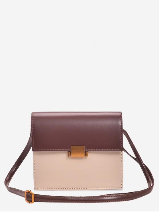 ladies Vintage Flap PU Leather Crossbody Bag - BROWN