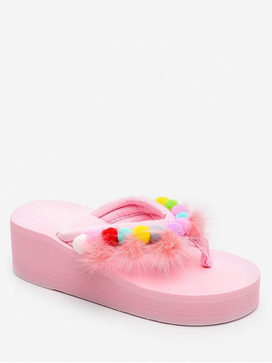 women Fuzzy Ball Decor Wedge Heel Slides - PIG PINK EU 37