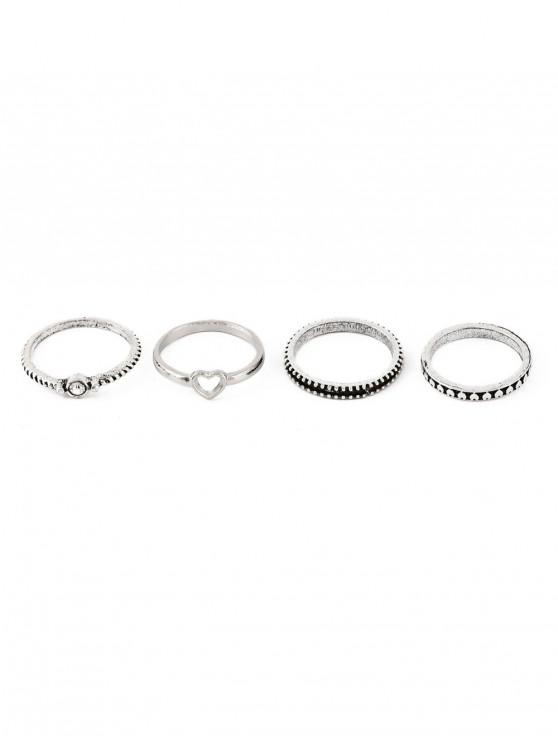 outfit 4 Piece Heart Finger Ring Set - SILVER