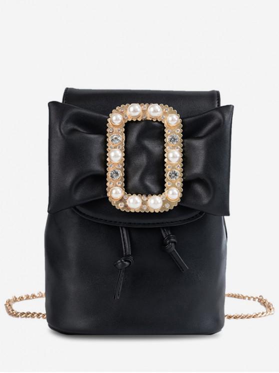 buy Buckle Bowknot Mini Chain Backpack - BLACK