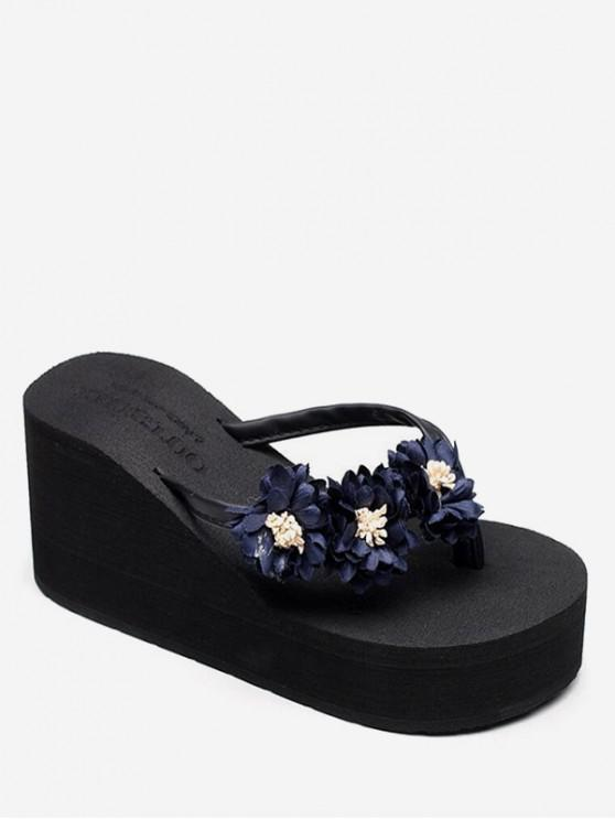buy Flower High Wedge Heel Thong Slides - BLACK EU 36