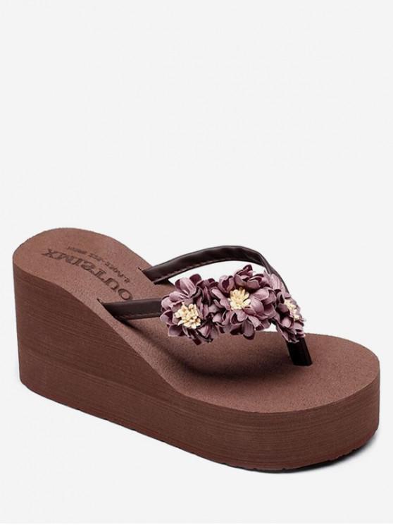 hot Flower High Wedge Heel Thong Slides - COFFEE EU 36