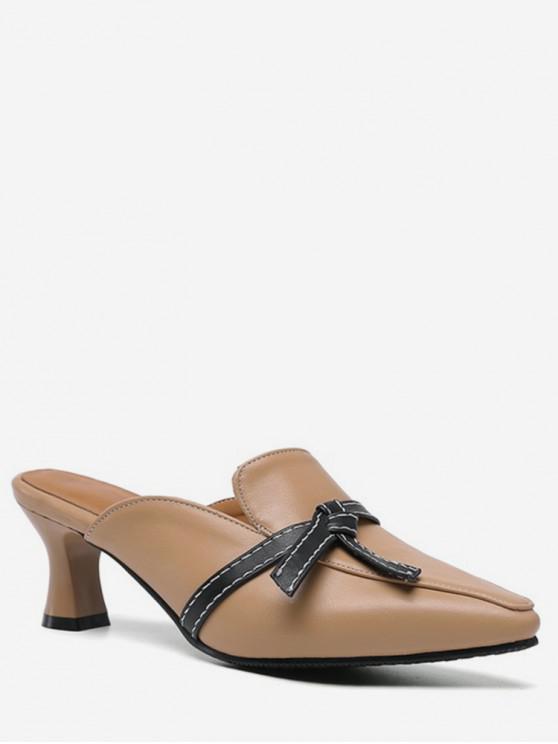 sale Knot Design Pointed Toe Heeled Slides - BROWN EU 42