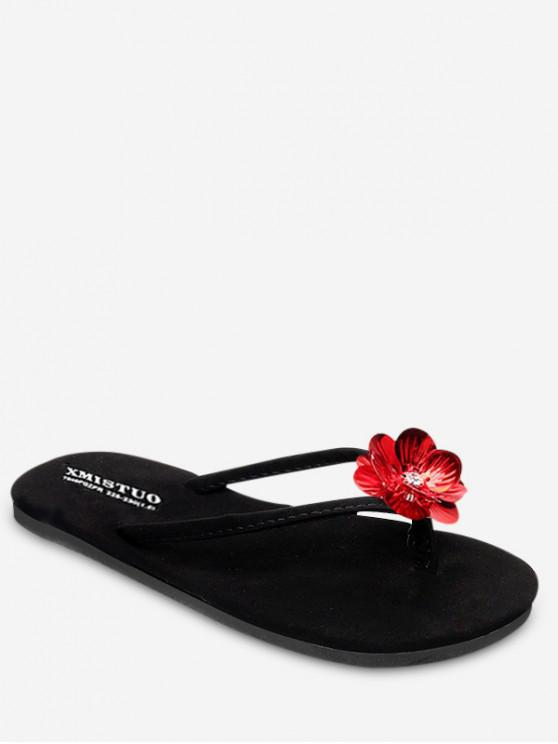 new Floral Decoration Outdoor Sandals - RED WINE EU 35